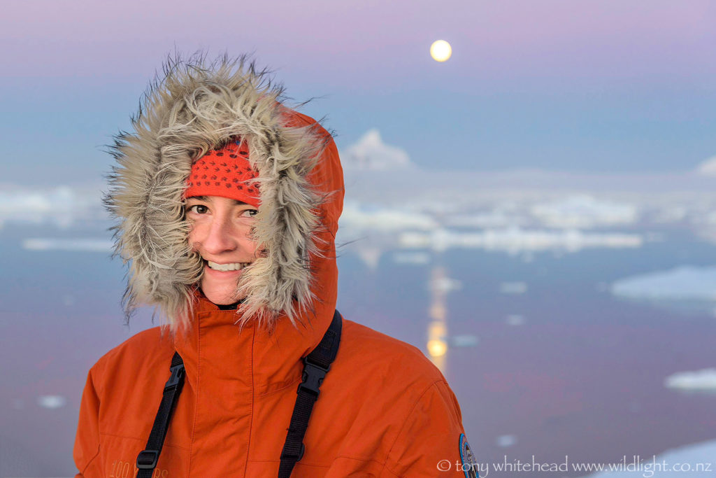 A day to last as long as memory. Moonrise as the mirror sea freezes, Antarctica.